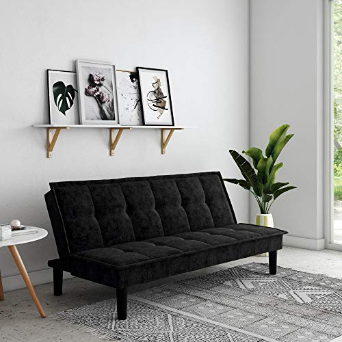 DHP Oscar Memory Foam, Full Size Armless Sofa Bed and Couch, Black Futon,