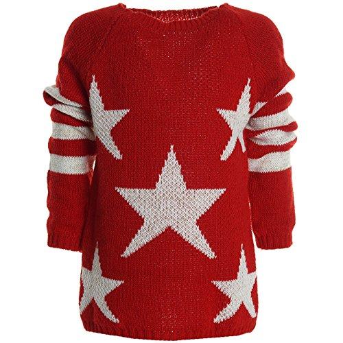 BEZLIT Winter Pullover Strickpullover Mädchen Hoodie Hoody Kinder Sweatjacke 20564 Rot Größe 128