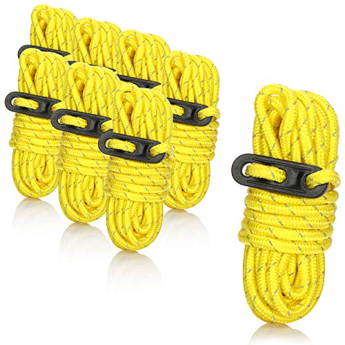 com-four® 8X Abspannseile mit Reflexionsstreifen, leuchtendgelbe Zeltabspannleinen mit Seilspanner, Sturmleine zur Zeltabspannung bei Camping und Festival