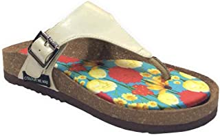 Colour Me Mad Cream Plain, Natural Cork, Washable, All Weather, Vegan, Made in India, PETA Certified, Women Sandals