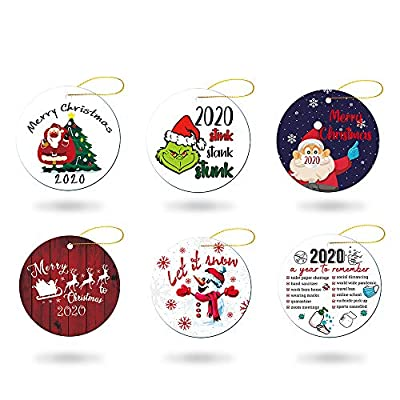 Elvoes 2020 A Year to Remember Christmas Ornament, Stink Stank Stunk Grinch Mask Ornament, Xmas Quarantine Ornament, Decorative Hanging Ornaments for Christmas Tree Home Party Decorations, Set of 6