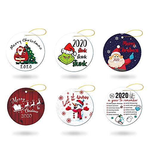 Elvoes 2020 A Year to Remember Christmas Ornament, Stink Stank Stunk Mask Ornament, Xmas Quarantine Ornament, Decorative Hanging Ornaments for Christmas Tree Home Party Decorations