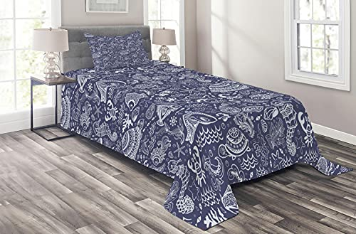 Ambesonne Under The Sea Coverlet, Ocean Animals Shells Plants Seahorse Turtle Fishing Theme Artwork Print, 2 Piece Decorative Quilted Bedspread Set with 1 Pillow Sham, Twin Size, Navy Blue