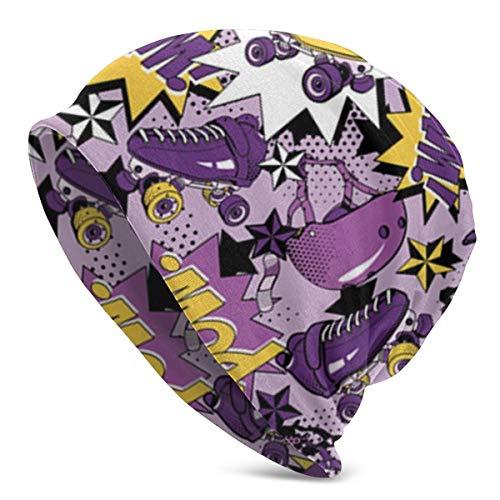Khtti Beanie Rollschuh-Mütze für Herren und Damen, Unisex, weiche Bündchen, einfarbig, Totenkopf-Mütze, Schwarz, Einheitsgröße
