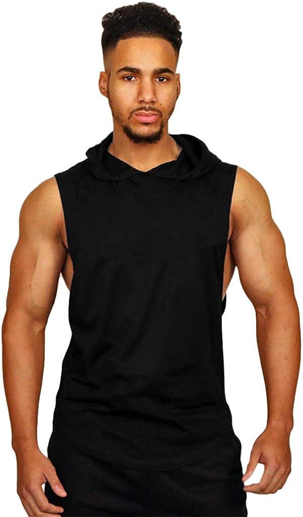 VEKDONE Men's Workout Hoodie Tank Tops Sleeveless Bodybuilding Shirt Undershirt T-Shirt Training Gym Sport Fitness Vests