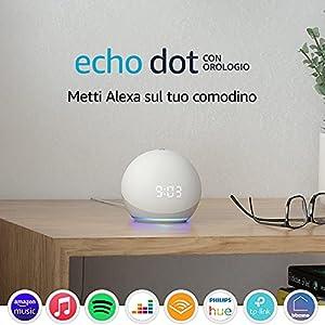 Echo Dot (4ª generazione) – Altoparlante intelligente con orologio e Alexa – Bianco ghiaccio
