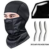 TEUME Balaclava Face Mask Ski Masks Winter Cold Weather with ANTI-FOG Nose Foam for Men Women Motorcycle Running Full Face Cover Masks Windproof Neoprene with Micro-Polar Fleece Masks (Black)