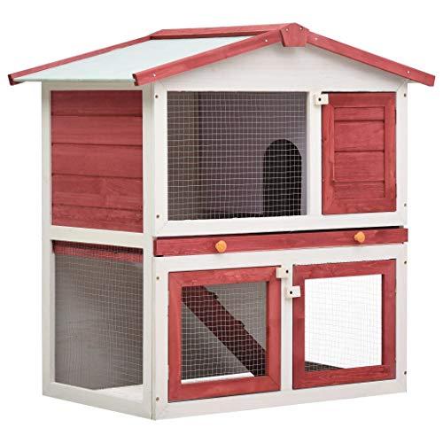 vidaXL Madera Jaula Conejera con 3 Puerta Casita Caseta de Animales Pequeños Mascotas Gallinero Protección Refugio Impermeable Rojo