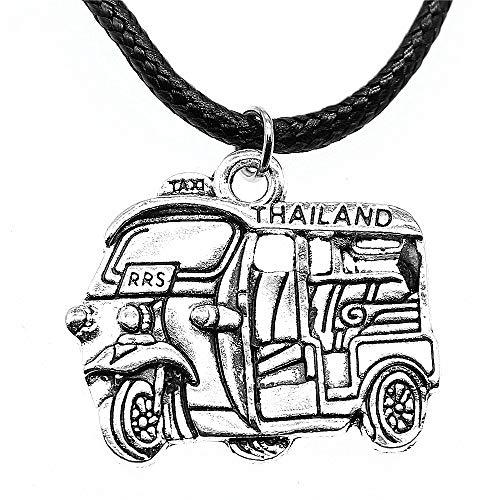 WYSIWYG 3 Piezas Cadena De Cuero Collares Colgantes Gargantilla Collar Collar Hecho A Mano De Los Hombres Taxi Tailandés De La Motocicleta 31x27mm