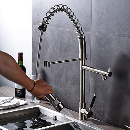 MMYYY High-end Best Quality Brushed Nickel Brass Kitchen Mixer Faucet with Hot Cold Water Taps