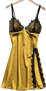 فستان نوم جذاب من الحرير الصناعي مع حمالات للنساء