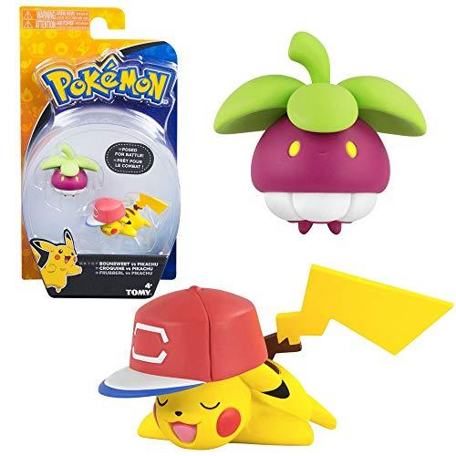 PoKéMoN Selección Battle Pack Tomy | 2 Piezas Conjunto | Figuras de Acción, Figuras del Juego:Bounsweet vs. Pikachu Ash-Style