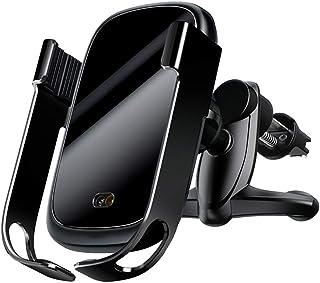 携帯ホルダー 車 自動開閉、10w、7.5w充電360°回転球面ユニバーサルは、最高の視野のインテリジェント赤外線センサーブラケットを提供します Black