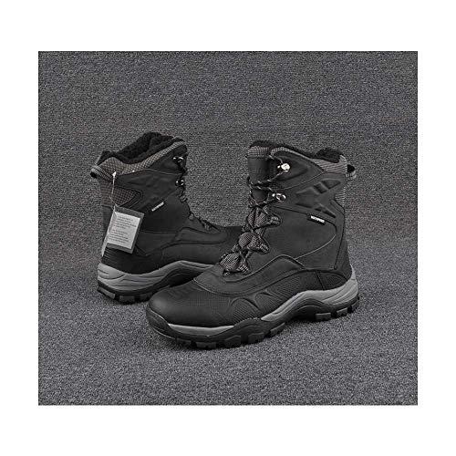 HaoLin Senderismo Trekking Botas De Caza Hombres Cuero Espacial Trekking Escalada Goretex Zapatos Impermeables Al Aire Libre Magnum Botas De Trabajo,Black-45