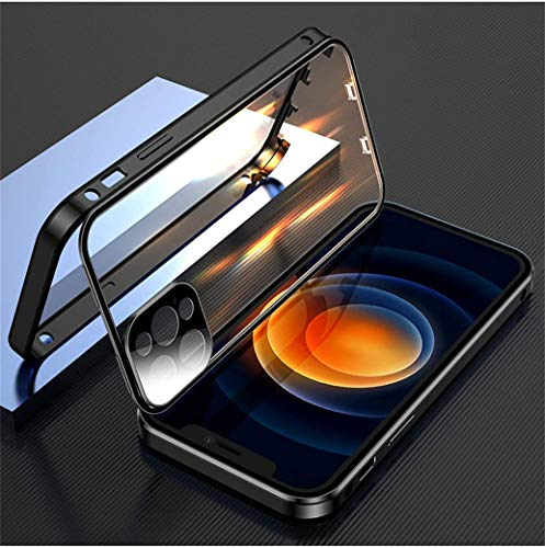 Compatible with iPhone double-sided buckle protective case With camera lens and screen protector Anti-theft lock 360-degree full-body HD transparent mobile phone case (Black, iPhone 12 pro)