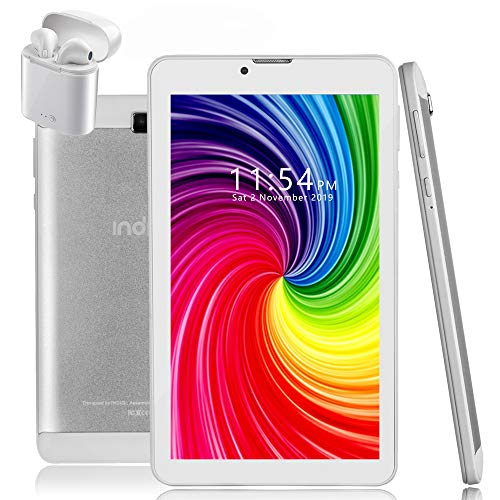 Indigi 4G LTE GSM Unlocked Android 9.0 Pie 7-inch TabletPC & Smartphone [Quad-Core @1.3GHz + 2SIM] 2GB RAM/16GB Storage (White)