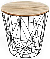 SIDE TABLE: This fabulous geometric wire patterned wooden-top occasional side storage table with lid would look fabulous in any room in your home, ideal for a variety of different uses, such as displaying plants, or keeping your reading material or d...