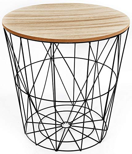 Carousel Home and Gifts Round Wooden Top Geometric Wire Occasional Side Table