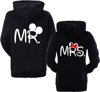 Couple Sweatshirt pour Homme Femme Sweatshirt à Capuche Couple Mr Mrs Sweat Pullover Noir Blanc 1 Pièce