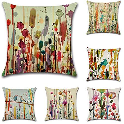 JOTOM Kissenbezug Baumwolle Leinen Moderne Dekokissen für Haus Schlafzimmer Sofa Car Bett Büro Outdoor 45 cm x 45cm 6er Set (Vögel)