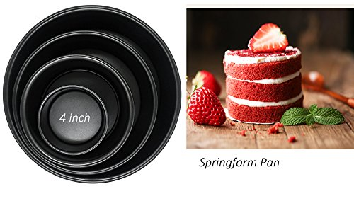 Blackcover Baking Pan Springform Pan Ideal for Bread Baking Made of Non-Stick Black Steel Bread Pan Set Cake Pan Bakeware Set (Round 4'')