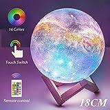 Lámpara Luna 3D, OxyLED 18cm Brillo Regulable 16 Colores RGB Recargable USB Control remoto y Control táctil LED Lunar Luz Nocturna Decorativa para Dormitorio, Salón, Regalo para Mujeres y Niños