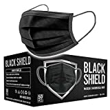 BLACK SHIELD - Certification CE - Masque chirurgical MEDICAL noir - Lot de 50 - TYPE 1 - Filtration EFB 95% - EN14683