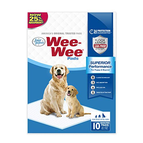 Four Paws Wee Wee Absorbent Pads for Dogs 10 Count Standard 22
