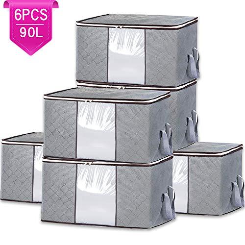 4 Packung 84L Aufbewahrungstasche f/ür Bettdecken und Kissen -/Blau Handliche Rei/ßverschluss-Box Gro/ß Aufbewahrungstasche Bettdecken flintronic Aufbewahrungstasche Tragetasche