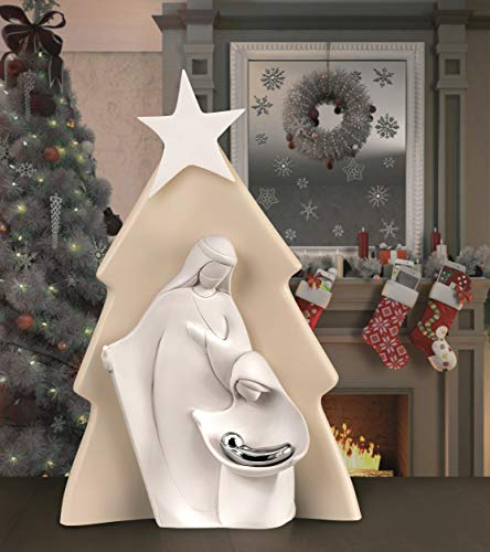 MAZZOLA LUCE statuina presepe Albero di Natale Moderno Stilizzato Made in Italy Bianco Nocciola h32 cm