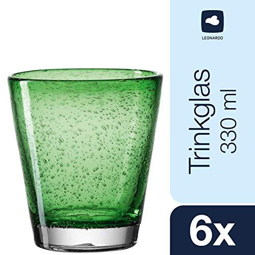 Leonardo Burano Becher klein Verde, 6-er Set, 330 ml, handgefertigt, grünes Schaumglas, 034757