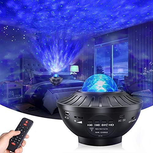 Projetor de Luz Noturna - Projetor Skylight com alto-falante de música Bluetooth, com 21 Modos de Iluminação, Bluetooth, Controle Remoto, Temporizador