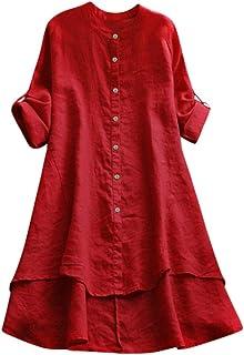 Xmiral Damesblouse, knopen, rolbaar, lange mouwen, verschillende lange zoom, lange shirt, tuniek