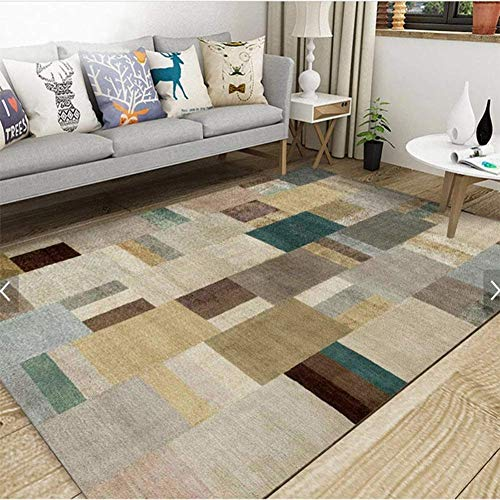 HIGHKAS Modern Abstract Carpet,Fluffy Area Rugs,Silky Floor mats Anti-Skid Rug Home Decor Rug mats Living Room Bedroom-H 140x200cm(55x79inch)