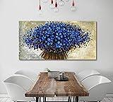 Pintado a mano azul floral paisaje decoración de la pared paleta abstracta pintura al óleo para la pared del hogar sala de estar decoración de la pared dorada estirada 24x48 pulgadas