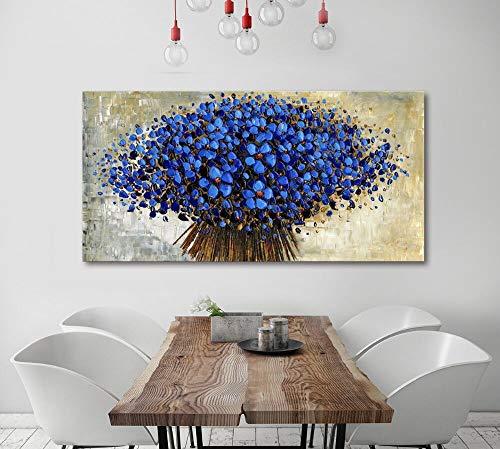 Orlco Art Pittura a Olio con Petali di Fiori di ciliegio Blu e Albero Blu, Dipinto a Mano, di Grandi Dimensioni, Arte Astratta, Decorazione murale, spatola, Strutturato, Pittura a Olio su Tela, Blu