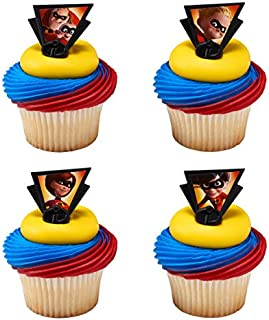 24 count Incredibles 2 Dynamic Cupcake Rings Cake Toppers Birthday Party Favors