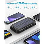 Solar Charger 26800mAh, Riapow Fast Charging Solar Power Bank with 3 USB Outputs and 60 Bright LEDs, Portable Solar…