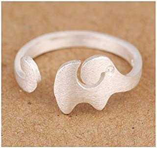 Women's 925 Sterling Silver Elephant Opening Rings Vintage Studed Filigree Hammered Jewelry For Women Adjustable