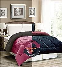 AVI Reversible Style Plain Black & Wine 200 GSM Microfiber Comforter/Duvet/Quilt -Single Size - 60 X 90 inches