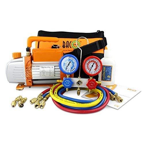 BACOENG Vacuum Pump & Manifold Gauge Set - HVAC A/C Refrigeration Kit - Diagnostic R12 R22 R134a R410A - w/Case