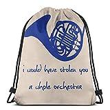Ahdyr Bolsa de hombro con cordón para el hombro How I Met Your Mother Blue French Horn Backpack Sport Bag String Bags School Backpack Gym Lightweight
