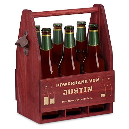 Murrano Bierträger für 6 Flaschen 0,5L + Gravur - Männerhandtasche mit Flaschenöffner - Größe: 25x17x32cm - aus Holz - Geschenk für Männer zum Geburtstag - Powerbank