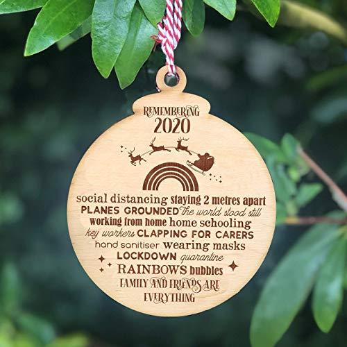 Remembering 2020 Christmas Wooden Bauble - Lockdown Keepsake Tree Ornament Gift - Santa and Rainbow Design