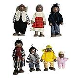 Surakey Juego de Muñecas de Madera de la Familia, Juego de Muñecas de la Familia Feliz, Juego de Figuras de Madera, Juguetes de Muñecas de la Familia de la Casa, Mini Muñecas de Figuras de Personas