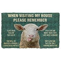 玄関マット 屋外 羊の家のルールカスタム玄関マット新築祝いのギフトパーソナライズされたラグホームルームの装飾50x80cmを覚えておいてください