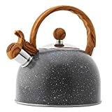 Tetera con silbido de Tetera de Acero Inoxidable Negro de 2.5L, Mango de Grano de Madera, Disponible en el Hotel de Cocina en casa (Color: Negro, Tamaño: 2.5L)