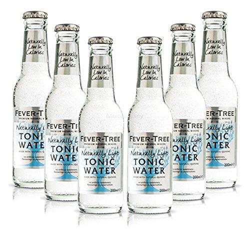 Fever-Tree Naturally Light Tonic Water Set - Juego de 6 botes de 200 ml con depósito
