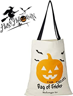 Halloween Treat Bag, Personalized Candy Gift Sack Goodies Bucket Tote Favor Reusable Bag for Trick or Treat 13.2 x 17.3 Inches