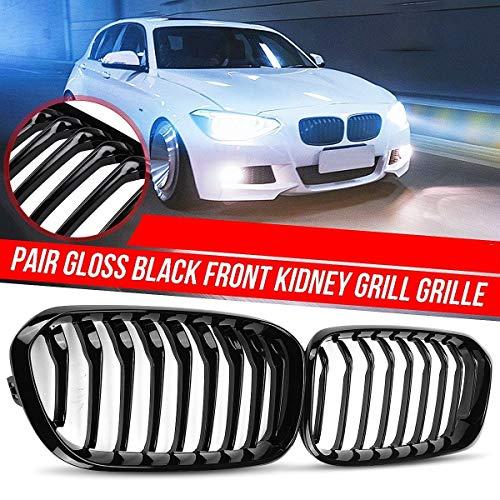 Autorennen-Grills 1 Paar Auto Frontstoßstange Kidney Roste Gloss Black 1 Slat Fit For BMW F20 F21 LCI 5D 3D 1-Series 120i 2015-2017 Racing Grille, Vorder Ierengitter